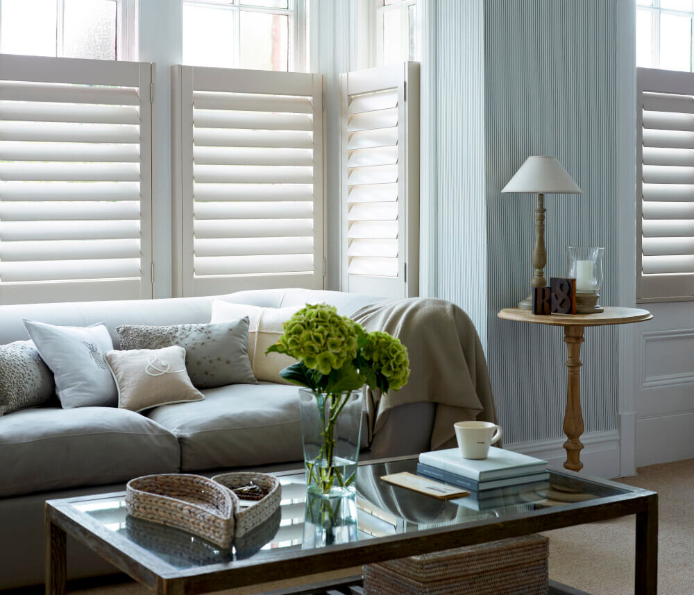 Living Room Bay Window Cafe-Style MDF Shutters
