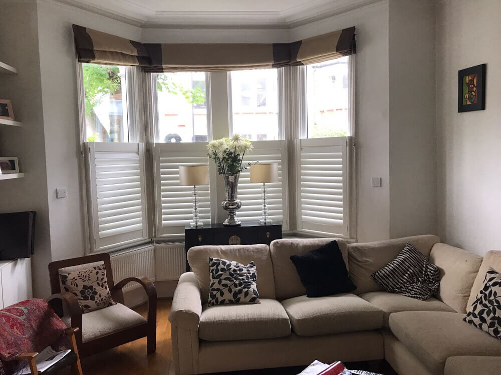 Living Room Bay Window Cafe-Style Shutters