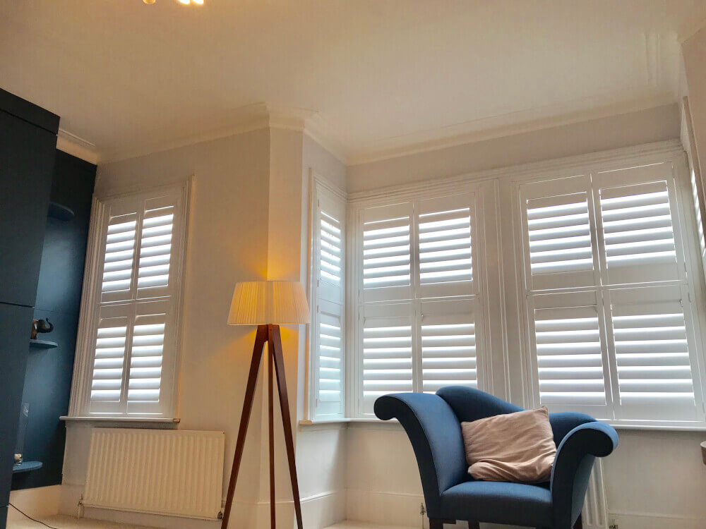 Living Room Bay Window Tier-on-Tier MDF Shutters