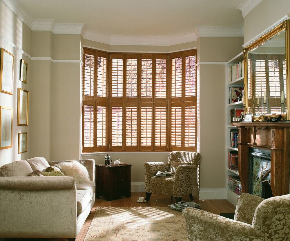 Living Room Full Height Bay Window Shutters