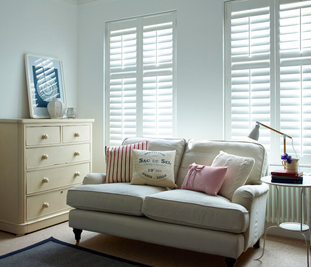 Living Room Full Height Hardwood Shutters