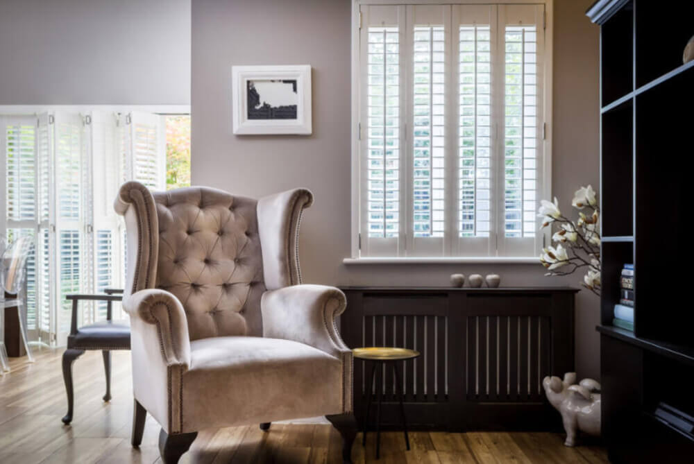Living Room Full Height Window Shutters
